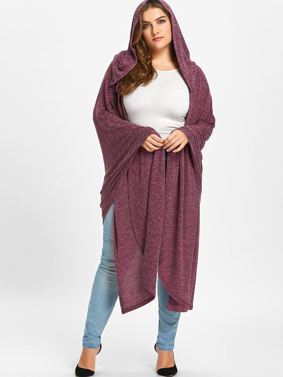 Fashion Plus Size Marled Hooded Longline Cape