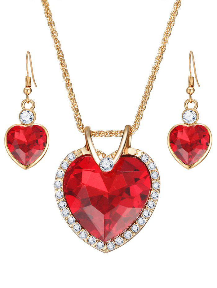 Chic Faux Crystal Gemstone Rhinestone Heart Jewelry Set