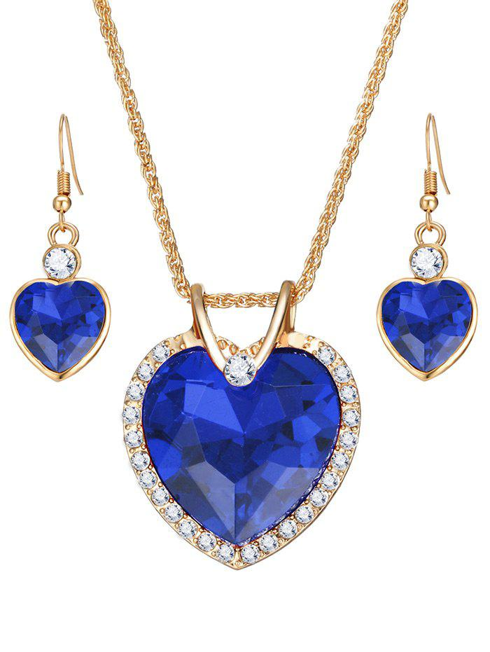 Best Faux Crystal Gemstone Rhinestone Heart Jewelry Set