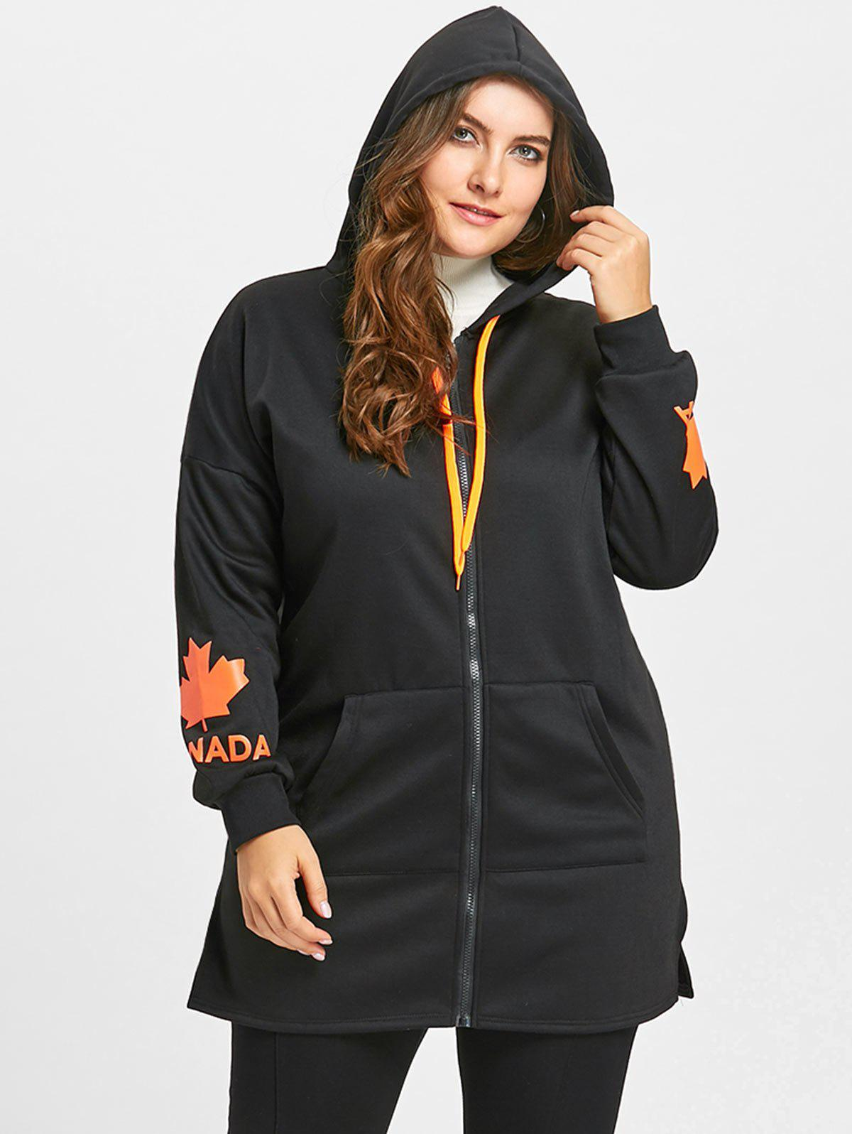 Sale Zip Up Plus Size Graphic Canada Hoodie