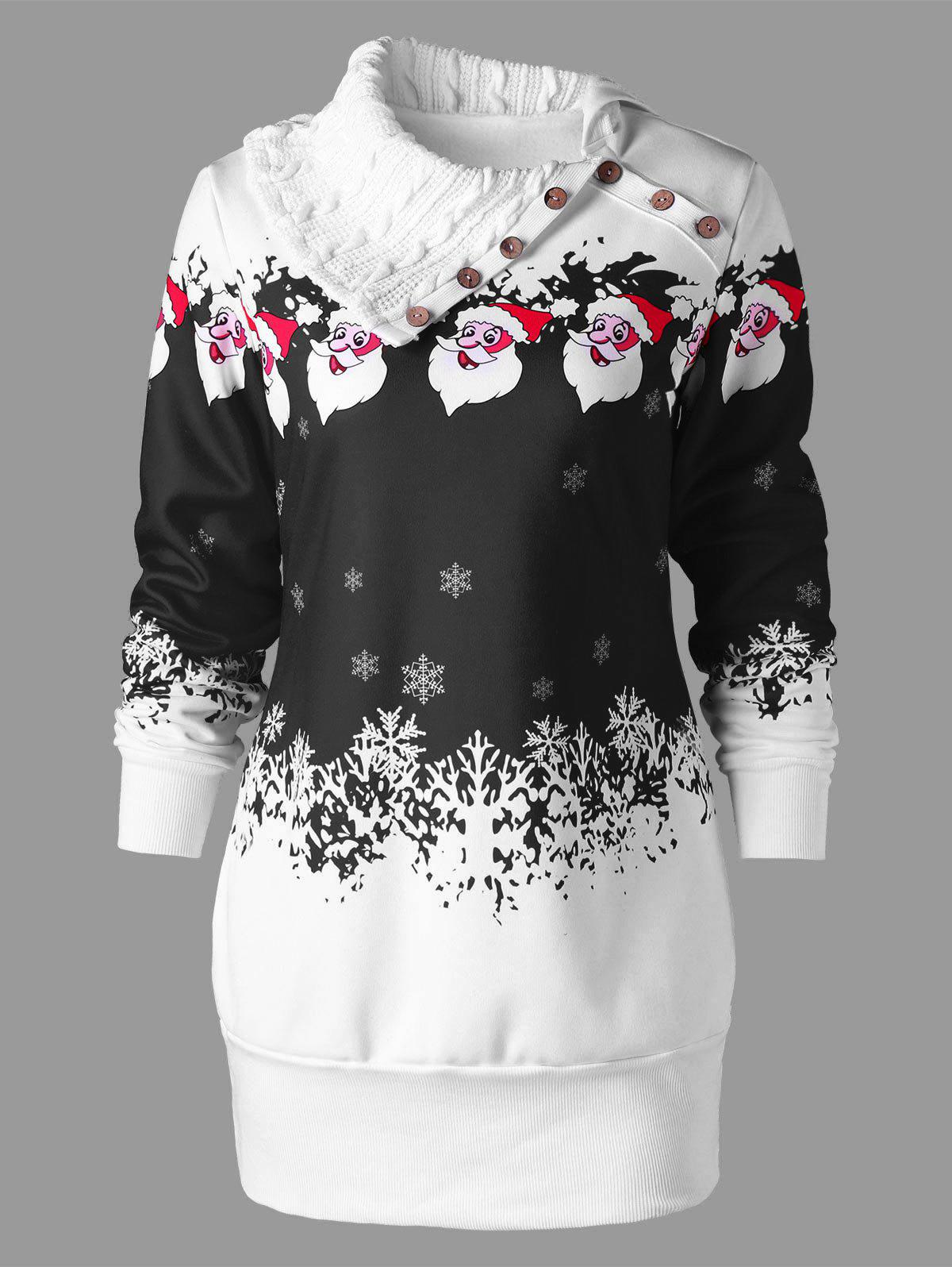 Santa Claus Print Plus Size Tunic Sweatshirt DressWOMEN<br><br>Size: 2XL; Color: BLACK; Style: Cute; Material: Polyester; Silhouette: Bodycon; Dresses Length: Mini; Neckline: Flat Collar; Sleeve Length: Long Sleeves; Waist: Natural; Embellishment: Button; Pattern Type: Character,Print; With Belt: No; Season: Fall,Spring,Winter; Weight: 0.6200kg; Package Contents: 1 x Dress;