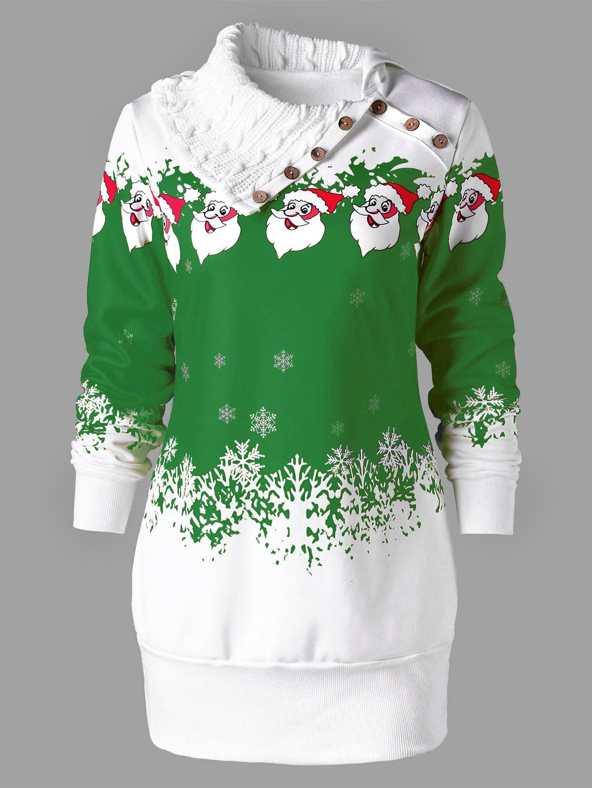 Outfit Santa Claus Print Plus Size Tunic Sweatshirt Dress