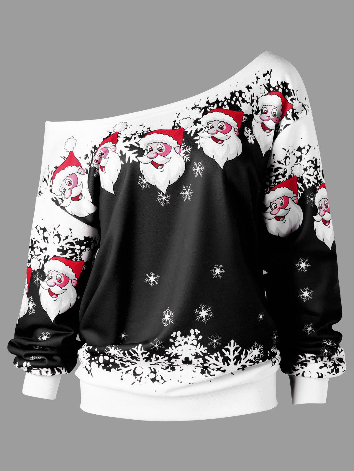 Christmas Plus Size Skew Collar Santa Claus SweatshirtWOMEN<br><br>Size: 5XL; Color: BLACK; Material: Polyester,Spandex; Shirt Length: Regular; Sleeve Length: Full; Style: Casual; Pattern Style: Character; Season: Fall,Spring; Weight: 0.5000kg; Package Contents: 1 x Sweatshirt;