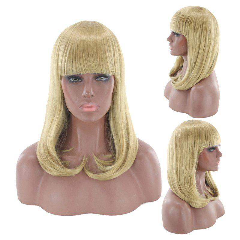 Best Medium Neat Bang Tail Adduction Straight Cosplay Synthetic Wig