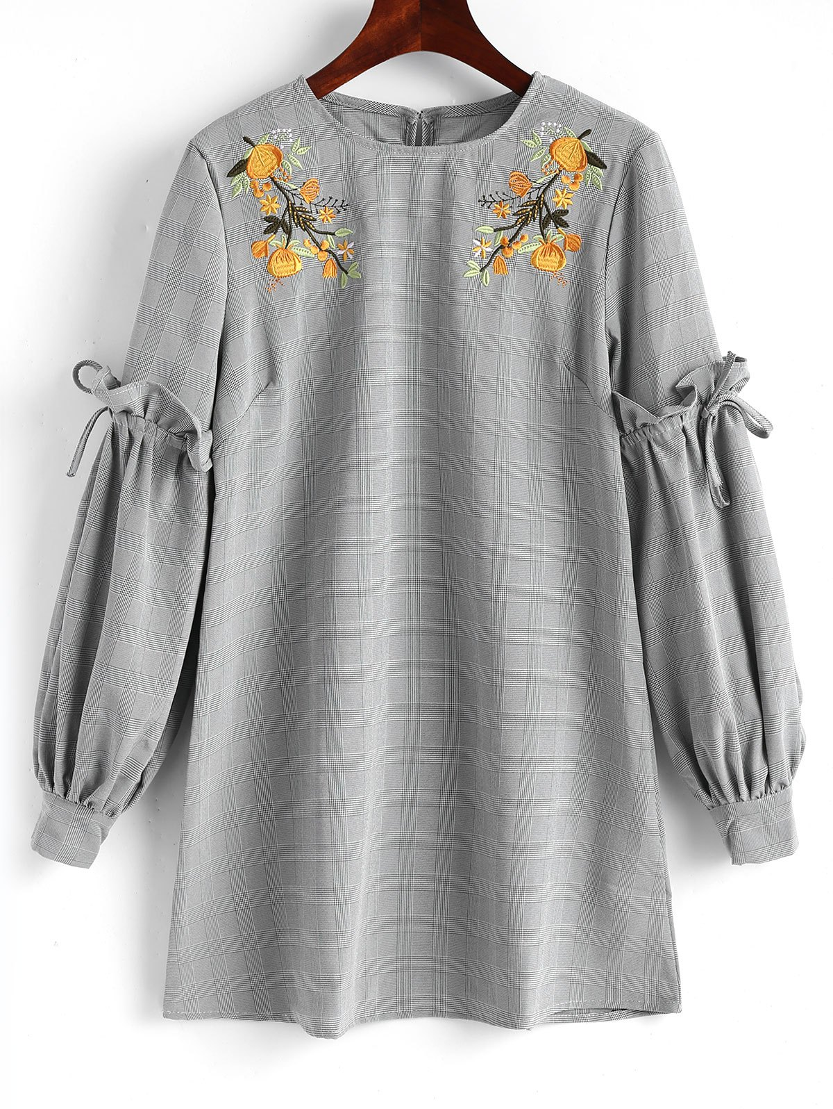 Online Checked Floral Embroidered Mini Dress