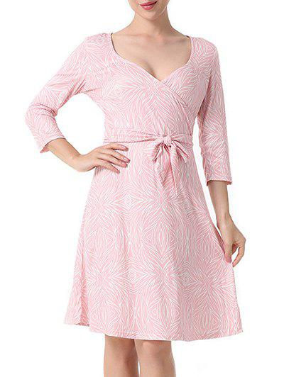 Discount Surplice Printed A Line Dress