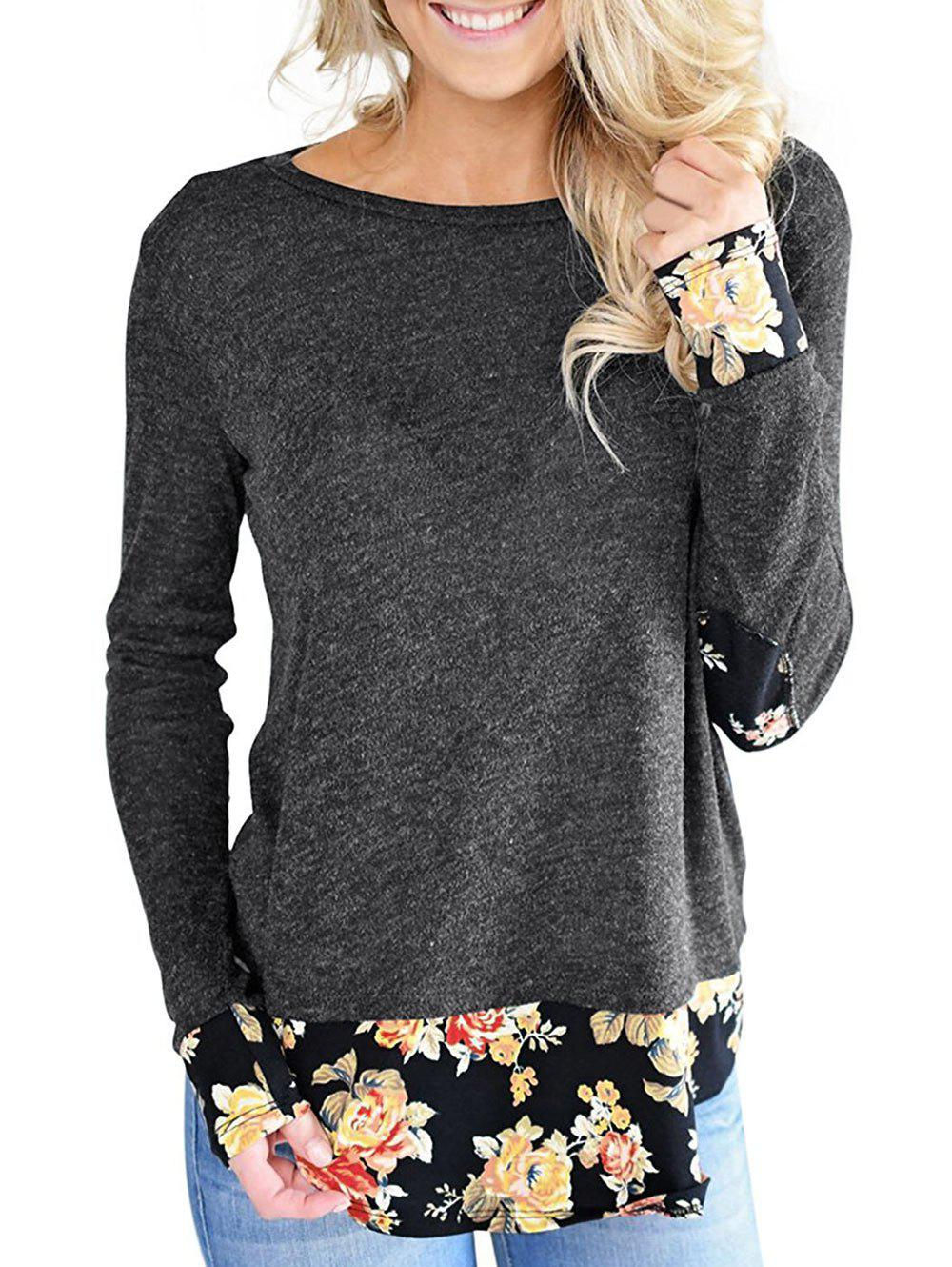 Affordable Flower Print Hem Tunic Tee