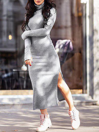 New Turtleneck Slit Tea Length Knitted Dress