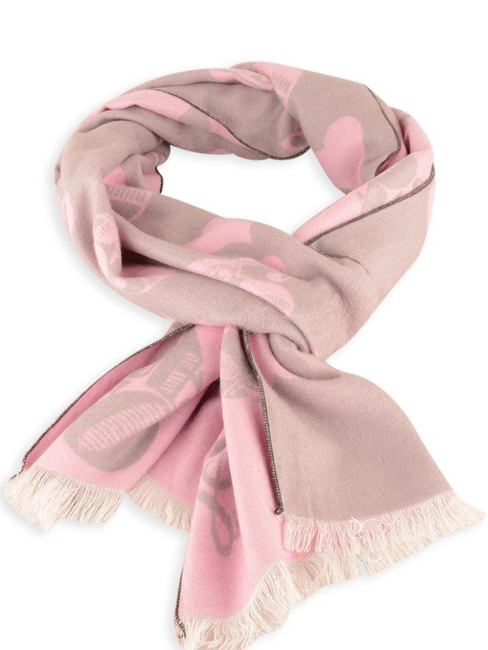 Fashion Letter Heart Pattern Winter Scarf with Fringed