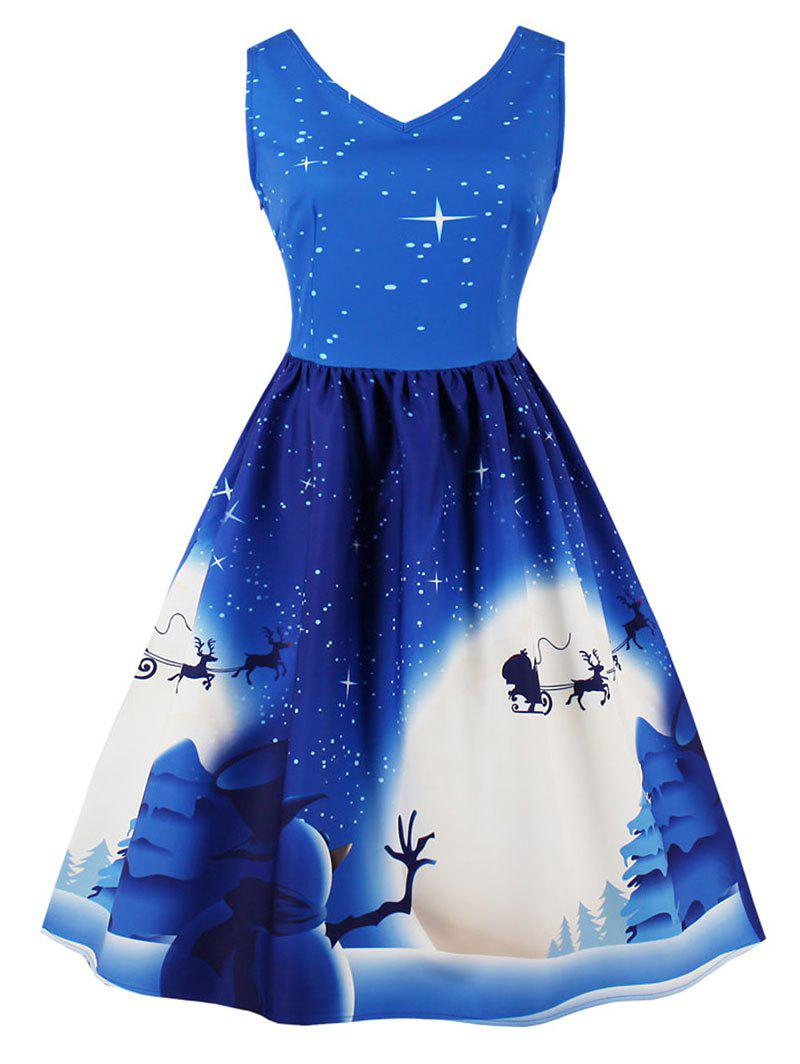 Online Vintage Christmas Print Pin Up Dress
