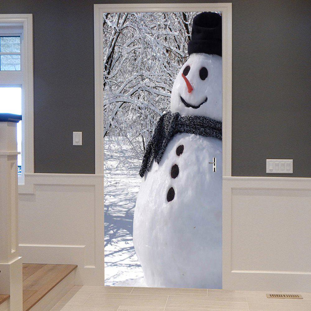 Christmas Forest Snowman Pattern Door Cover StickersHOME<br><br>Size: 38.5*200CM*2PCS; Color: WHITE; Wall Sticker Type: Plane Wall Stickers; Functions: Decorative Wall Stickers; Theme: Christmas; Pattern Type: Snowman; Material: PVC; Feature: Removable; Weight: 0.4500kg; Package Contents: 2 x Door Stickers (Sheet);