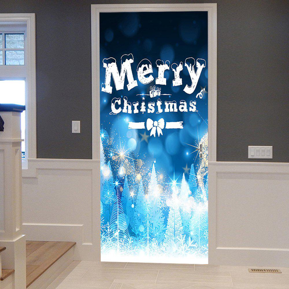 Merry Christmas Greeting Pattern Door Cover StickersHOME<br><br>Size: 38.5*200CM*2PCS; Color: BLUE; Wall Sticker Type: Plane Wall Stickers; Functions: Decorative Wall Stickers; Theme: Christmas; Pattern Type: Letter; Material: PVC; Feature: Removable; Weight: 0.4500kg; Package Contents: 2 x Door Stickers (Sheet);