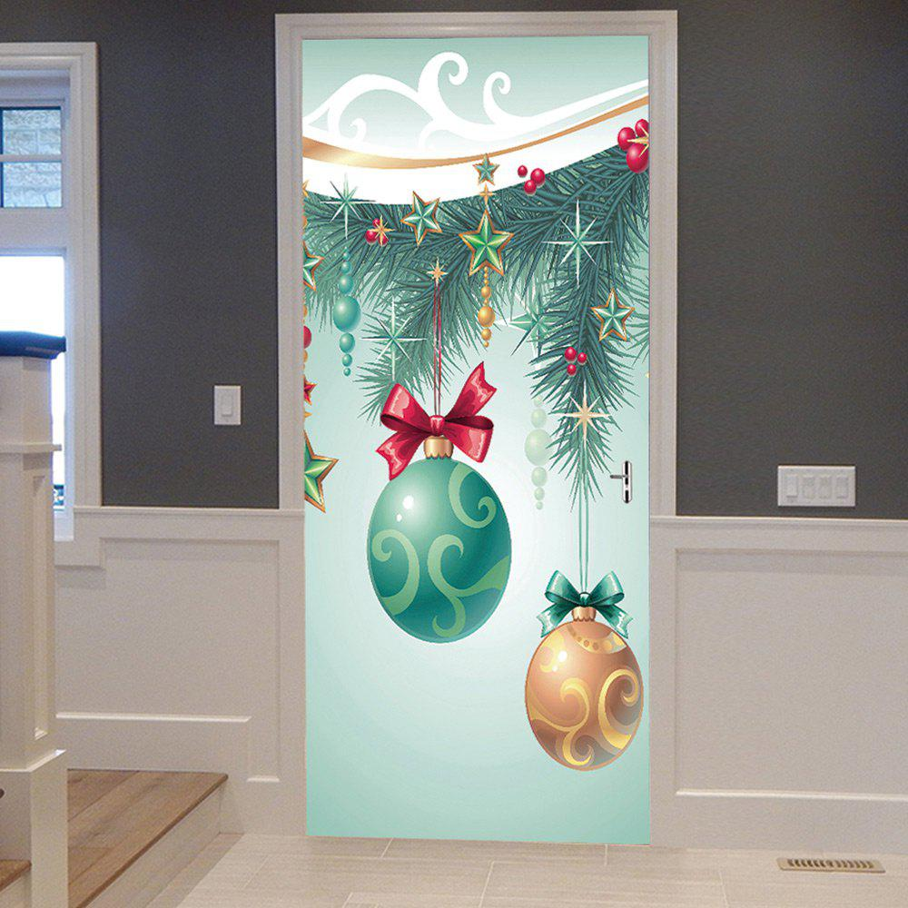 Christmas Tree Baubles Pattern Door Cover StickersHOME<br><br>Size: 38.5*200CM*2PCS; Color: COLORMIX; Wall Sticker Type: Plane Wall Stickers; Functions: Decorative Wall Stickers; Theme: Christmas; Pattern Type: Ball,Star; Material: PVC; Feature: Removable; Weight: 0.4500kg; Package Contents: 2 x Door Stickers (Sheet);