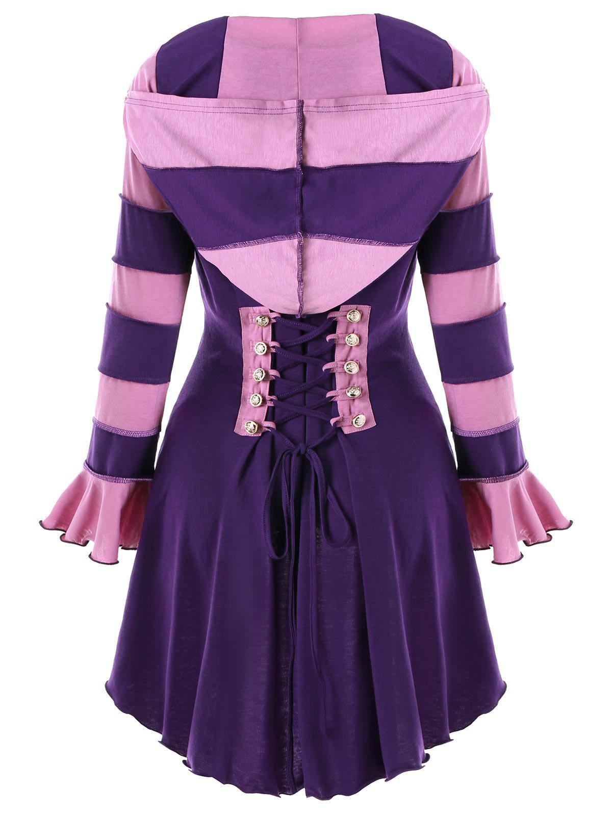 Fancy Hooded High Low Corset Double Breasted Coat