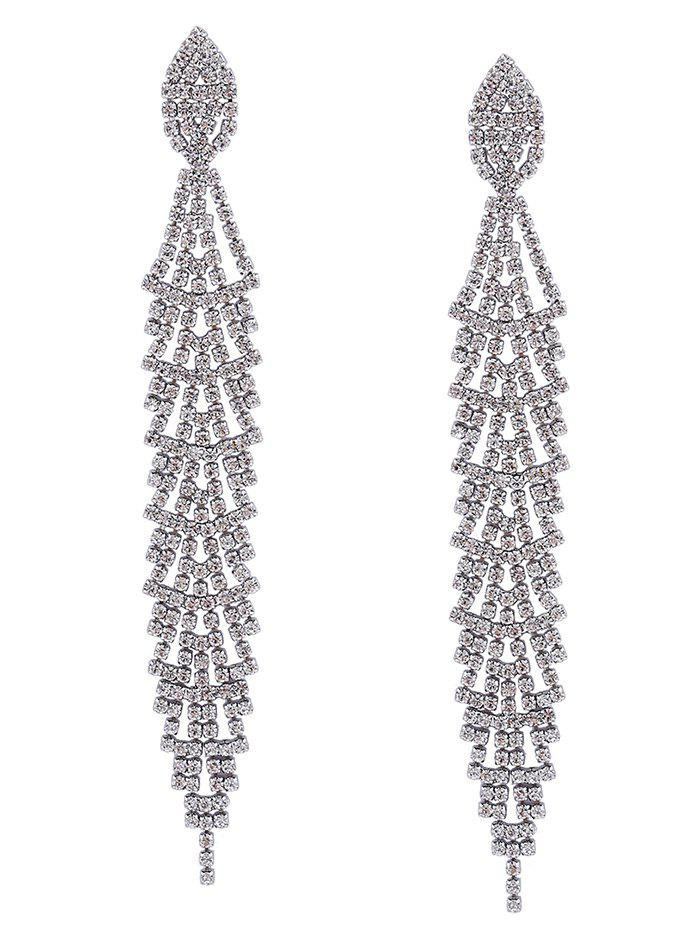 Fancy Faux Silver Crystal Long Drop Earrings