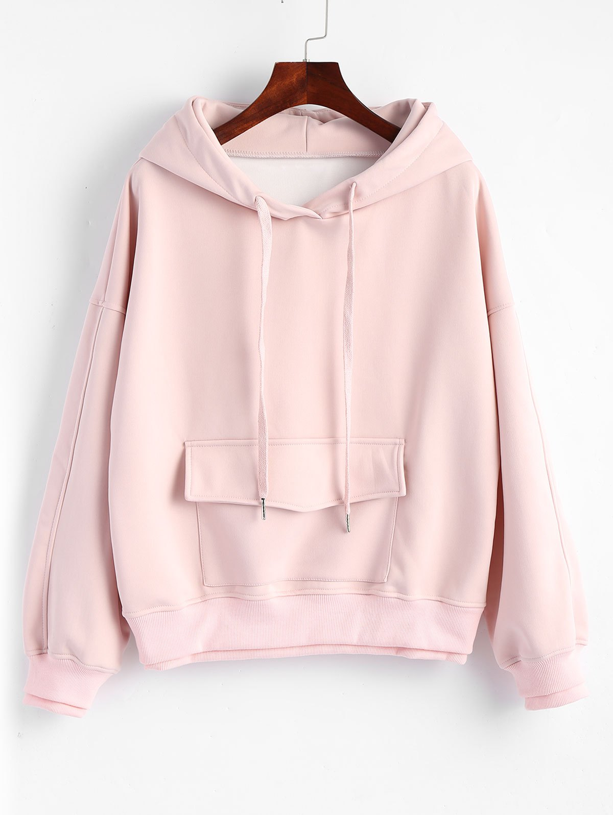 Unique Layered Flap Pocket Drawstring Hoodie