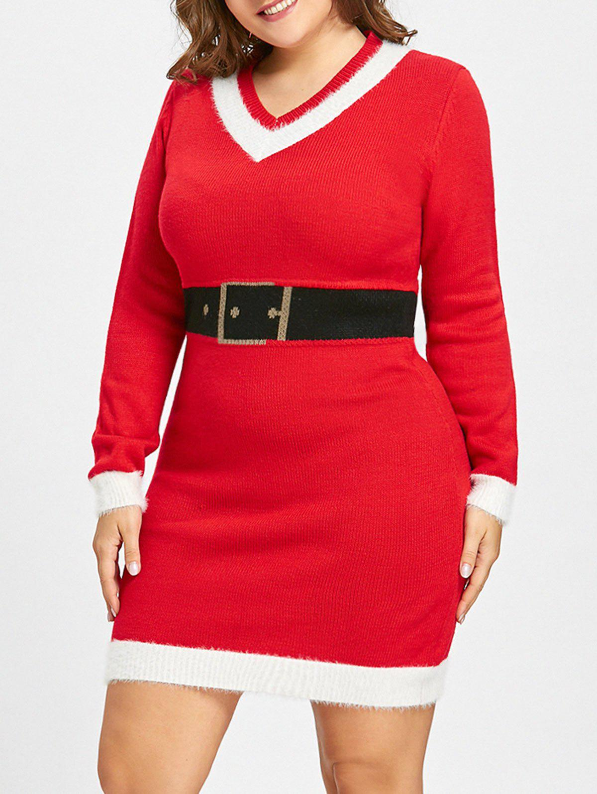 Christmas Plus Size Faux Belt Jacquard SweaterWOMEN<br><br>Size: 4XL; Color: RED; Type: Pullovers; Material: Acrylic; Sleeve Length: Full; Collar: V-Neck; Style: Fashion; Season: Fall,Winter; Pattern Type: Others; Weight: 0.5300kg; Package Contents: 1 x Sweater;