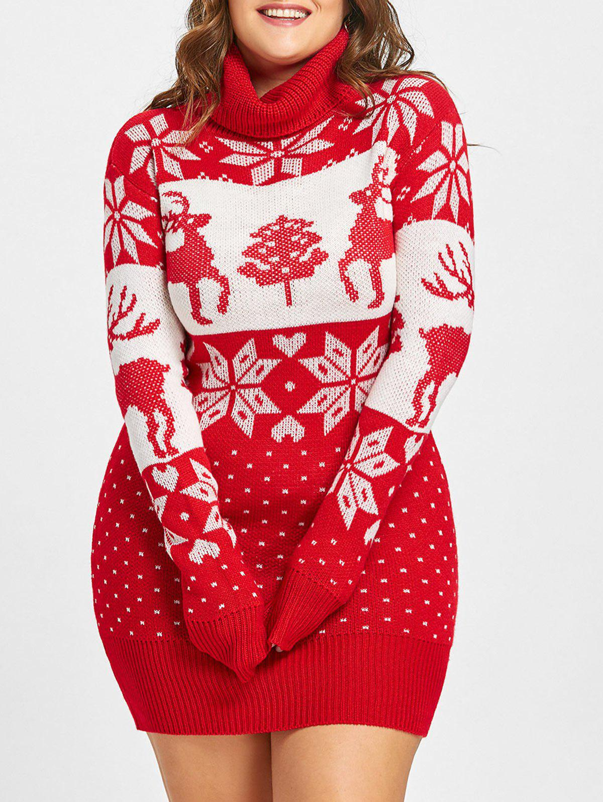 Christmas Snowflake Elk Jacquard Plus Size SweaterWOMEN<br><br>Size: XL; Color: RED; Type: Pullovers; Material: Acrylic; Sleeve Length: Full; Collar: Turtleneck; Style: Fashion; Season: Fall,Winter; Pattern Type: Animal; Weight: 0.5100kg; Package Contents: 1 x Sweater;