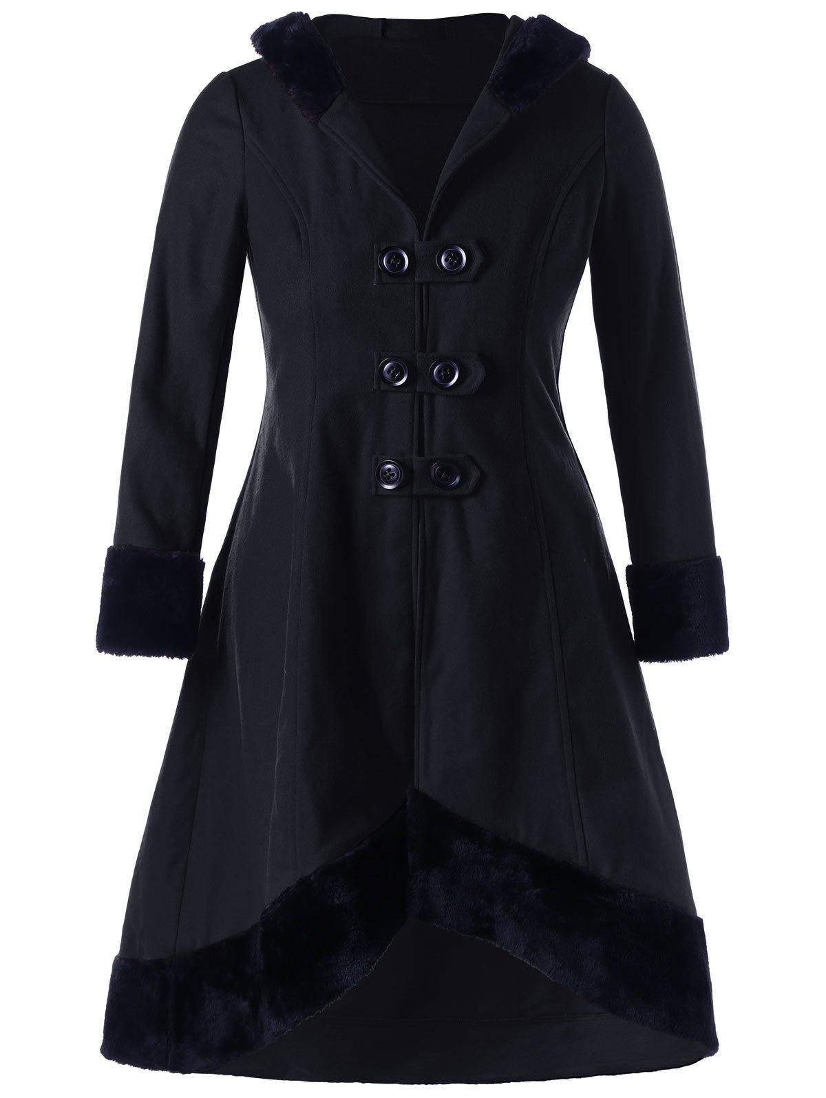 Discount Plus Size Hooded Lace Up Dip Hem Coat