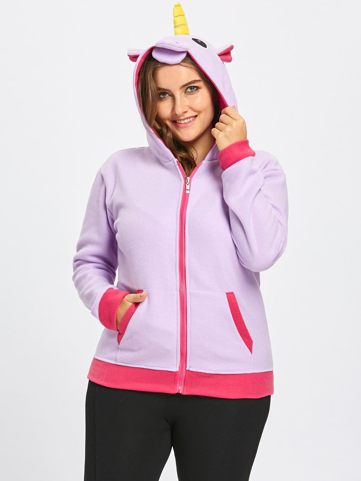 Trendy Fleece Plus Size Zipper Unicorn Hoodie with Pocket