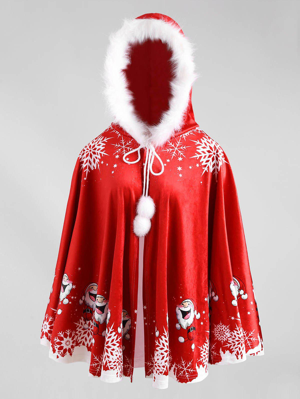 Outfit Christmas Print Velvet Hooded Cape Coat