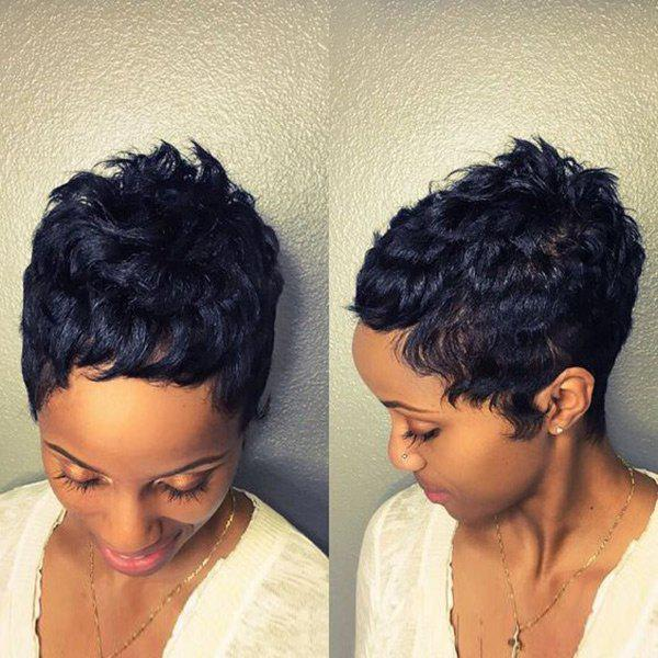 New Short Inclined Bang Fluffy Curly Pixie Human Hair Wig