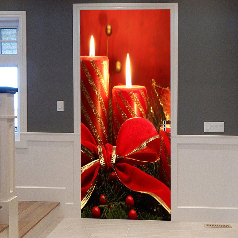 Christmas Candles Pattern Door Cover StickersHOME<br><br>Size: 38.5*200CM*2PCS; Color: RED; Wall Sticker Type: Plane Wall Stickers; Functions: Decorative Wall Stickers; Theme: Christmas; Pattern Type: Bowknot; Material: PVC; Feature: Removable; Weight: 0.4500kg; Package Contents: 2 x Door Stickers (Sheet);