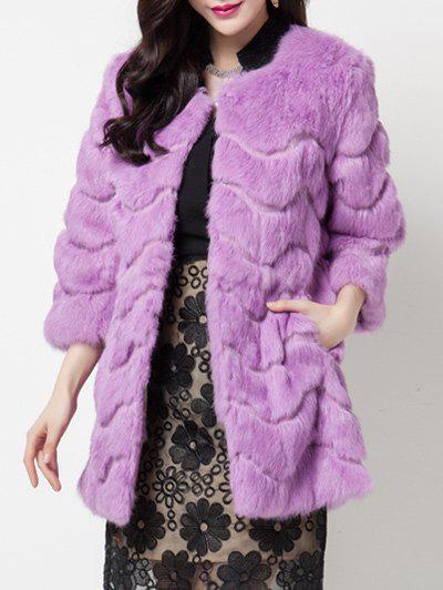 Latest Faux Cony Collarless Coat
