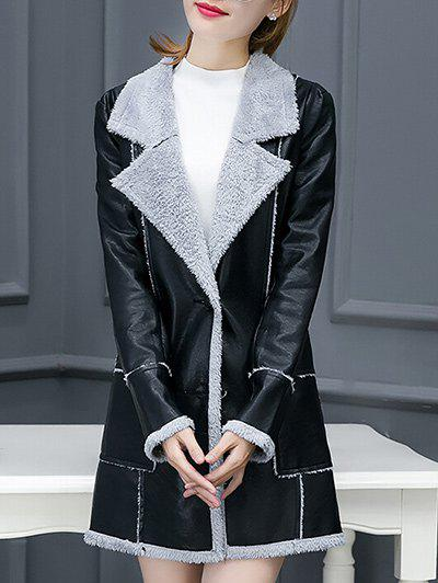 Unique Lapel Collar Faux Leather Coat