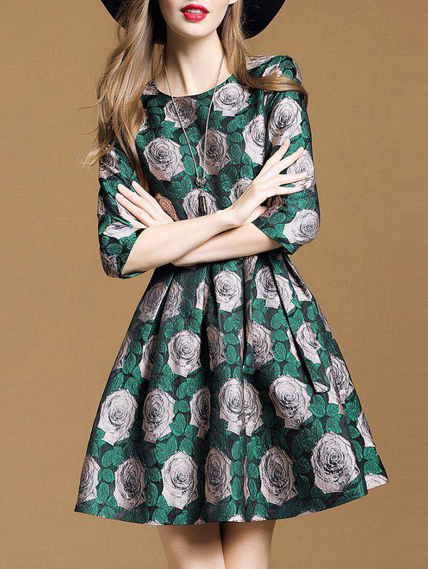 Chic Round Neck Jacquard Dress