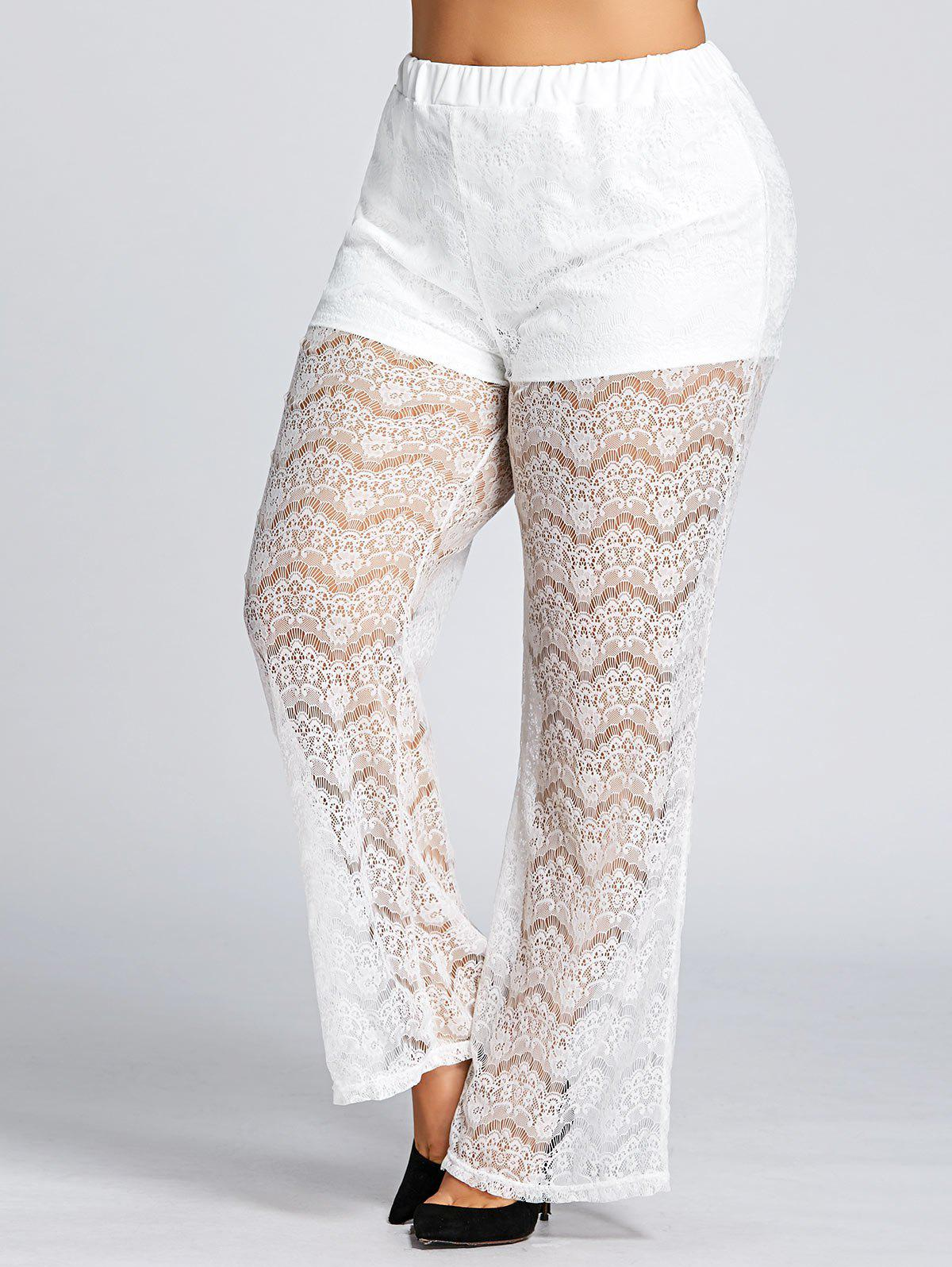 Cheap High Waist Plus Size Sheer Lace Pants