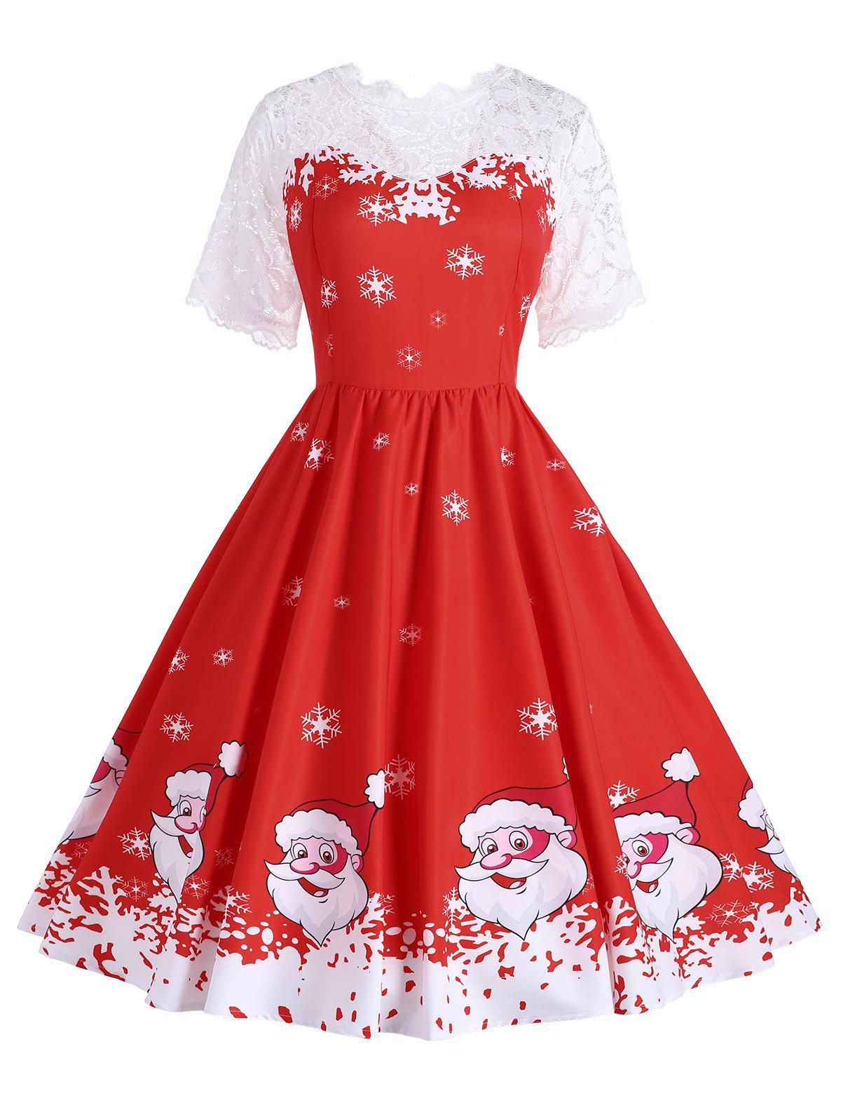 Trendy Plus Size Snowflake Santa Claus Christmas Dress