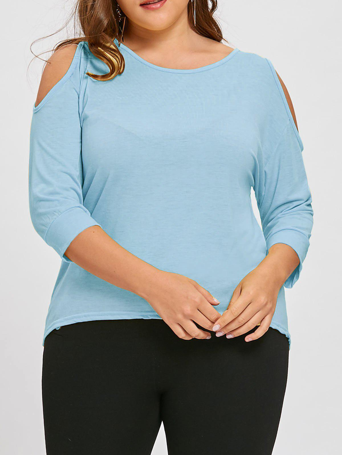 Sale Plus Size Asymmetric Cutout Cold Shoulder  Tunic Top