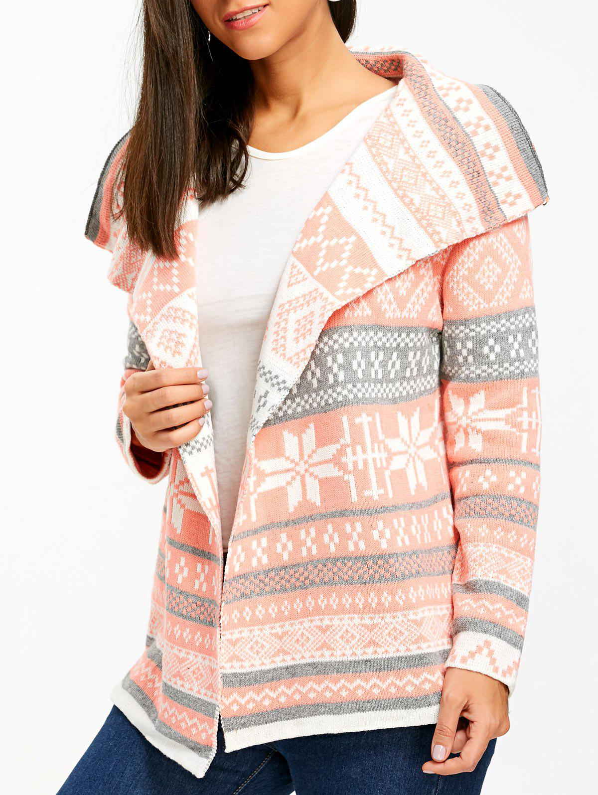 Stylish Turn-Down Collar Long Sleeve Printed Pocket Design Womens CardiganWOMEN<br><br>Size: L; Color: PINK; Type: Cardigans; Material: Acrylic; Sleeve Length: Full; Collar: Turn-down Collar; Style: Fashion; Weight: 0.241kg; Package Contents: 1 x Cardigan;