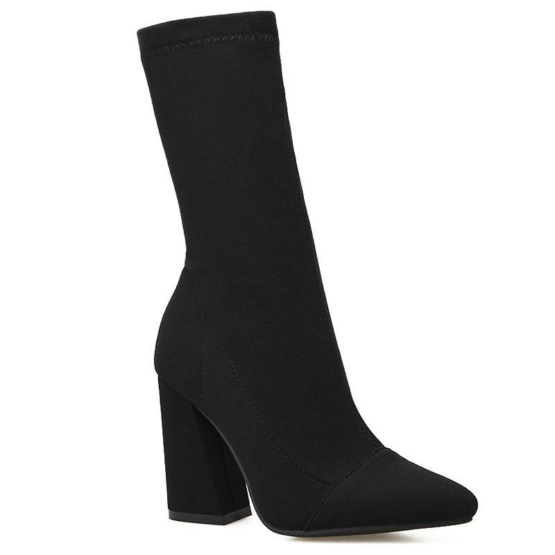 Sale Chunky Heel Point Toe Stretch Sock Boots