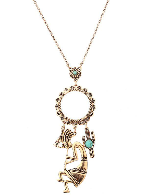 Latest Artificial Turquoise Cactus Floral Sweater Chain