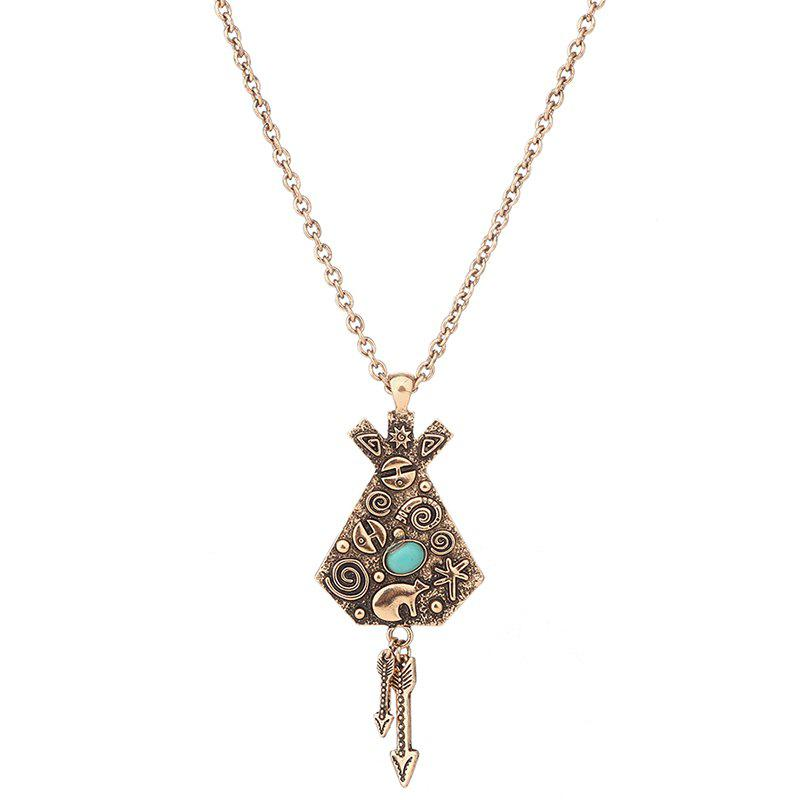 Trendy Faux Turquoise Arrow Engraved Indian Sweater Chain