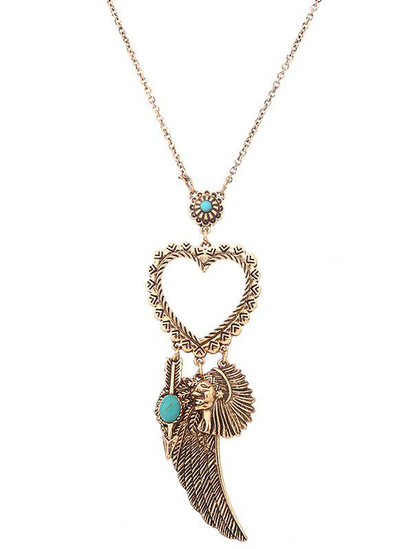 Outfit Faux Turquoise Heart Indian Wing Sweater Chain