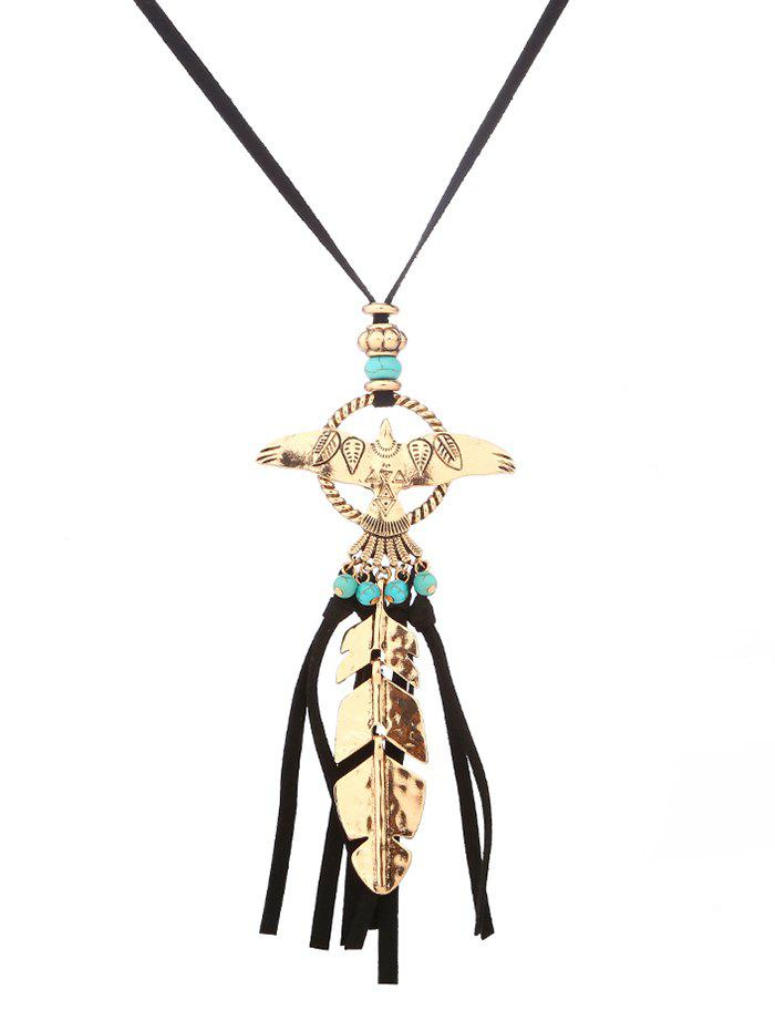 Discount Faux Turquoise Leaf Fly Eagle Tassel Sweater Chain