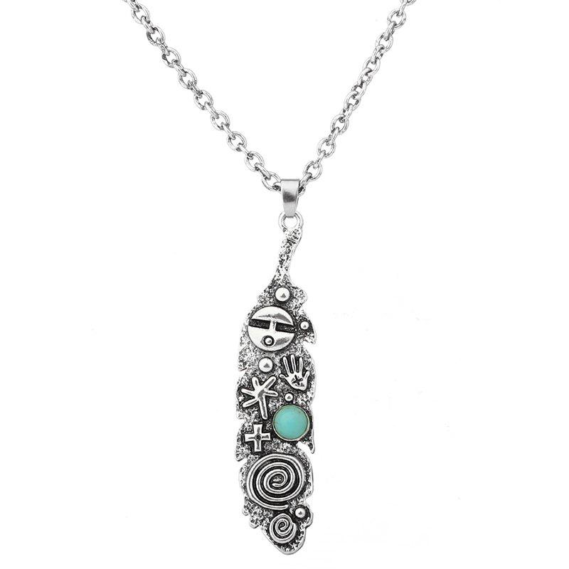 Fancy Artificial Turquoise Engraved Cross Sweater Chain