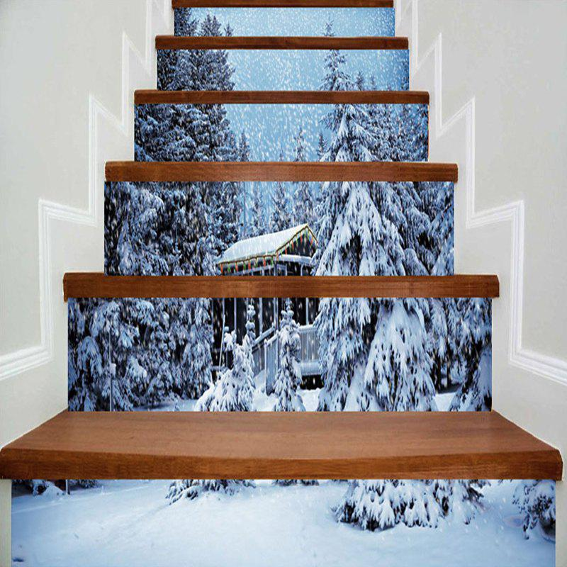 Stickers d'escalier décoratif de Noël Snowscape Pattern