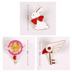 3 Pcs Bird Head Rabbit Star Brooches -