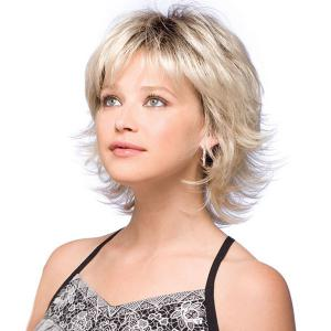 Short Side Bang Shaggy Slightly Curly Colormix Synthetic Wig -
