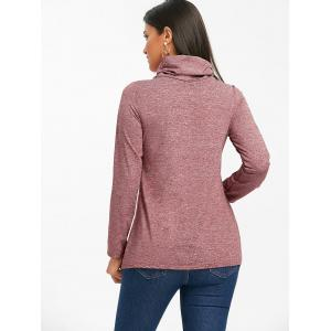 Heathered Cowl Neck Drawstring Sweatshirt -