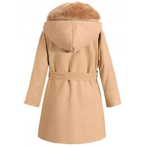 Faux Fur Collar Hooded Coat with Belt -