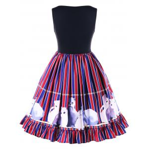 Striped Kitten Flounced Swing Dress -