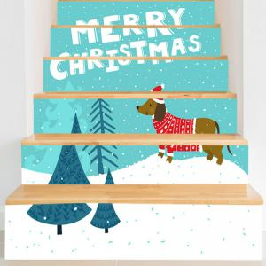 Christmas Dog Tree Letter Print Stair Stickers -