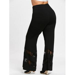 Plus Size Lace Insert Trumpet Pants -