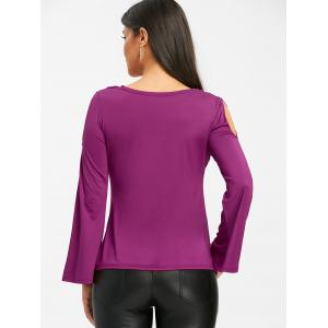 Cold Shoudler Cowl Neck Bell Sleeve T-shirt -