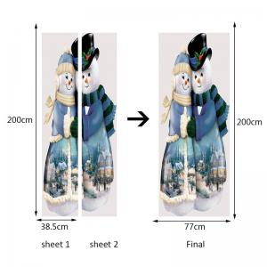 Environmental Removable Snowman Couples Printed Door Stickers -